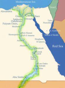 Река Нил на карте